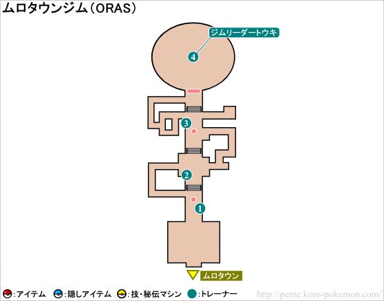 ポケモンオメガルビー・アルファサファイア ムロタウンジム マップ