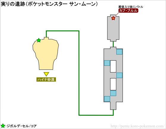 ポケモンサン・ムーン 実りの遺跡 マップ