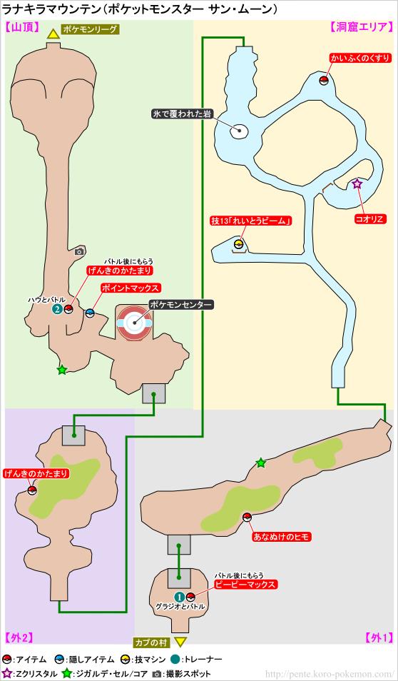 ポケモンサン・ムーン ラナキラマウンテン マップ