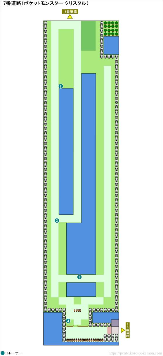 ポケモンクリスタル 17番道路 マップ