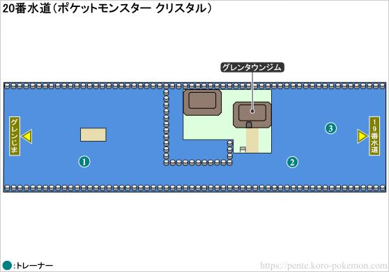 ポケモンクリスタル 20番水道 マップ