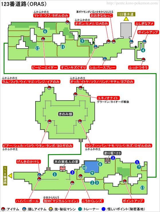 ポケモンオメガルビー・アルファサファイア 123番道路 マップ
