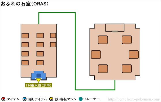 ポケモンオメガルビー・アルファサファイア おふれの石室 マップ
