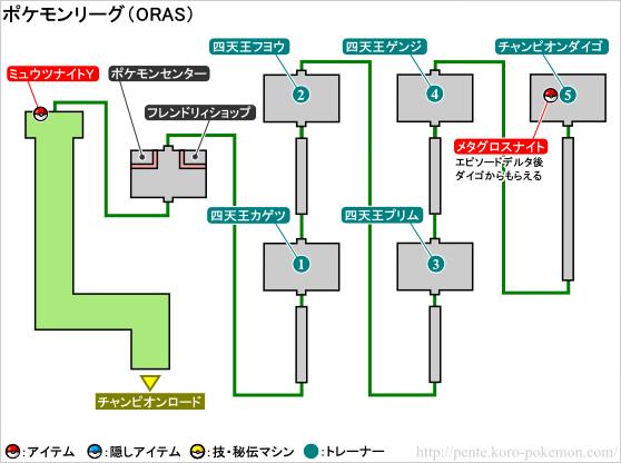 ポケモンオメガルビー・アルファサファイア ポケモンリーグ マップ