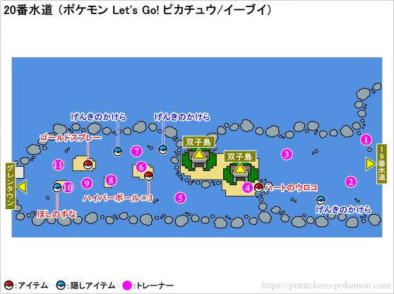 ポケモン Let's Go! ピカチュウ・Let's Go! イーブイ (レッツゴーピカブイ) 20番水道 マップ