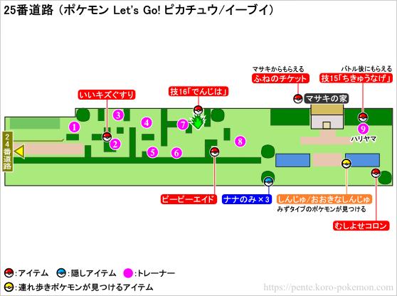 ポケモン Let's Go! ピカチュウ・Let's Go! イーブイ(レッツゴーピカブイ) 25番道路 マップ