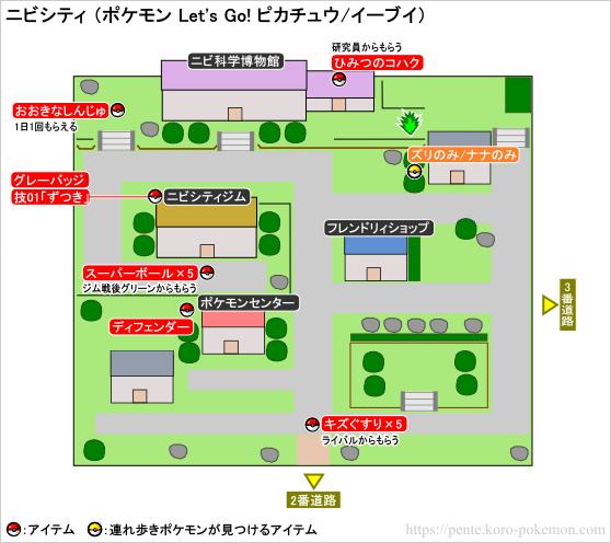 ポケモン Let's Go! ピカチュウ・Let's Go! イーブイ(レッツゴーピカブイ) ニビシティ マップ