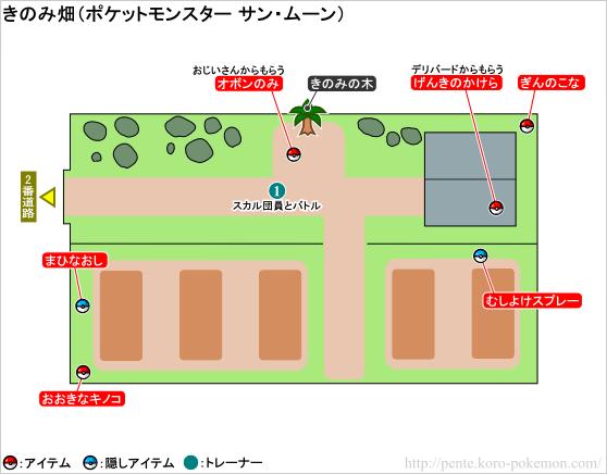 ポケモンサン・ムーン きのみ畑 マップ