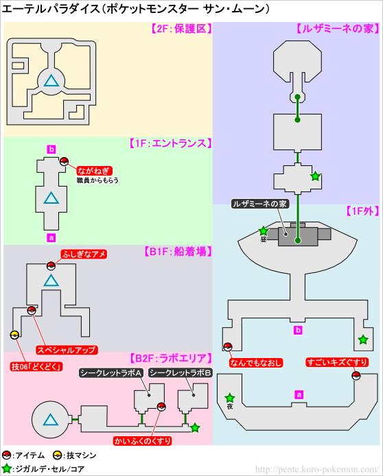 ポケモンサン・ムーン エーテルパラダイス マップ