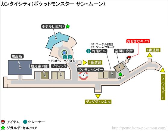 ポケモンサン・ムーン カンタイシティ マップ