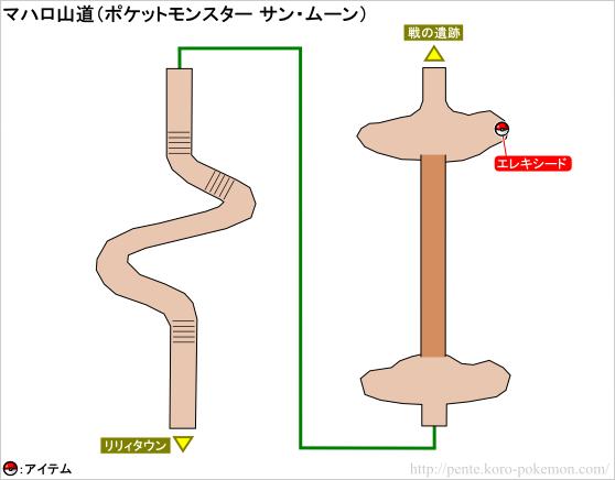 ポケモンサン・ムーン マハロ山道 マップ