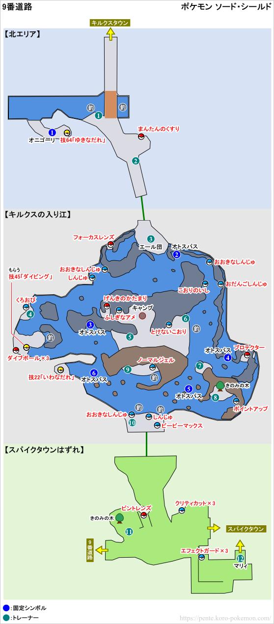 ポケモンソード・シールド 9番道路 マップ