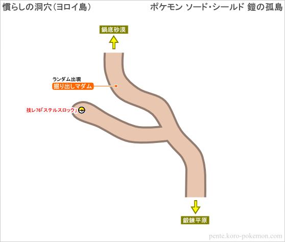 ポケモンソード・シールド 慣らしの洞穴 (ヨロイ島) マップ