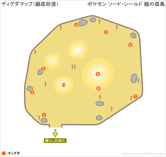 ポケモンソード・シールド 鎧の孤島 ディグダマップ (鍋底砂漠)