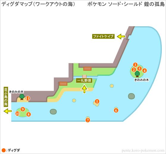 ポケモンソード・シールド 鎧の孤島 ディグダマップ (ワークアウトの海)