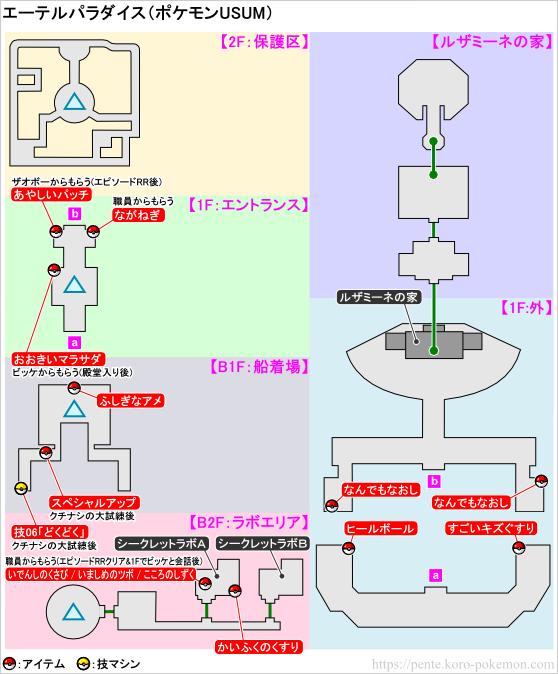 ポケモンウルトラサン・ウルトラムーン エーテルパラダイス マップ