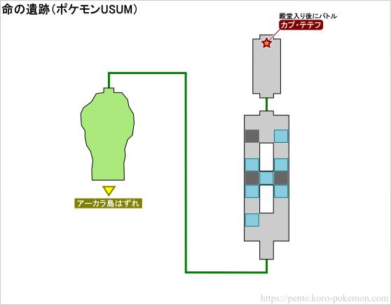 ポケモンウルトラサン・ウルトラムーン 命の遺跡 マップ