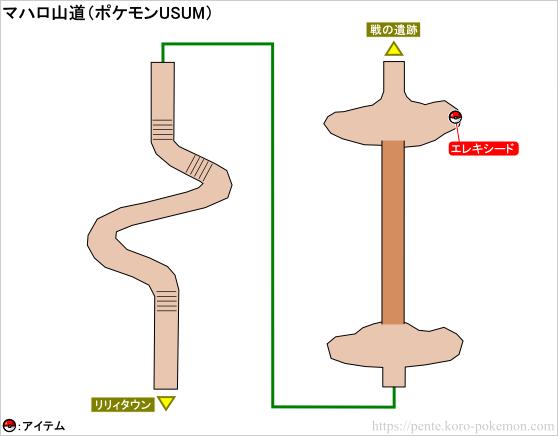 ポケモンウルトラサン・ウルトラムーン マハロ山道 マップ