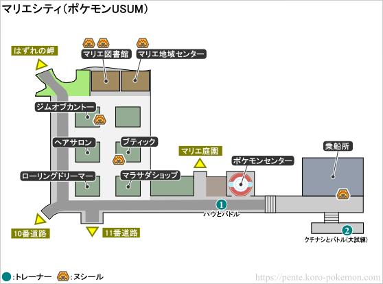ポケモンウルトラサン・ウルトラムーン マリエシティ マップ