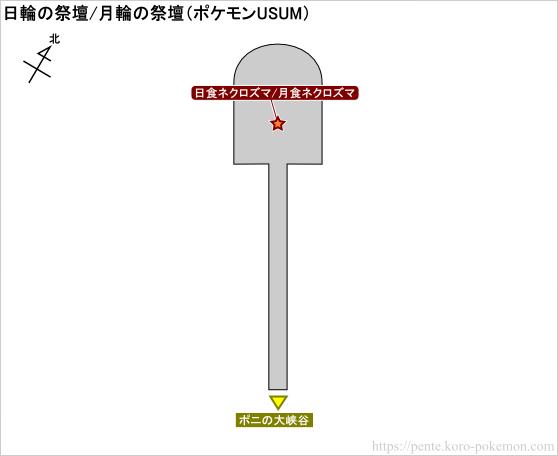 ポケモンウルトラサン・ウルトラムーン 日輪の祭壇/月輪の祭壇 マップ