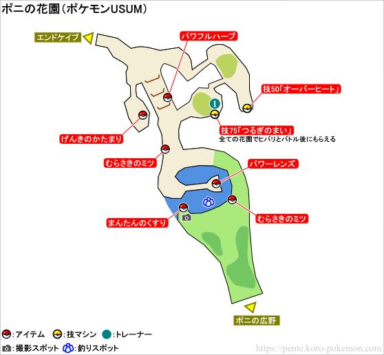 ポケモンウルトラサン・ウルトラムーン ポニの花園 マップ