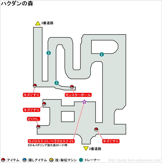 ポケモンXY ハクダンの森 マップ
